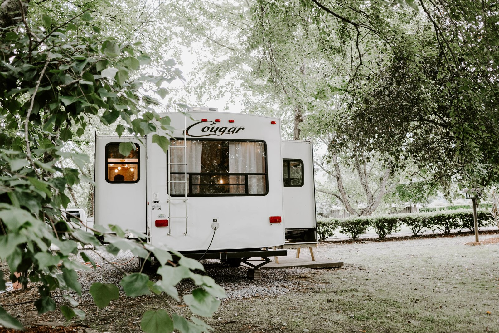 Exterior and Camper Building Type The couple have named the revamped trailer the Cougar Den.    The Cougar