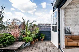 The generous decked terrace gets plenty of sun, making it a great spot for plants that prefer warmer climes.