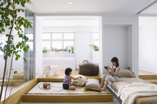 Sleep / rest mode for the guest room, with views of the indoor garden.