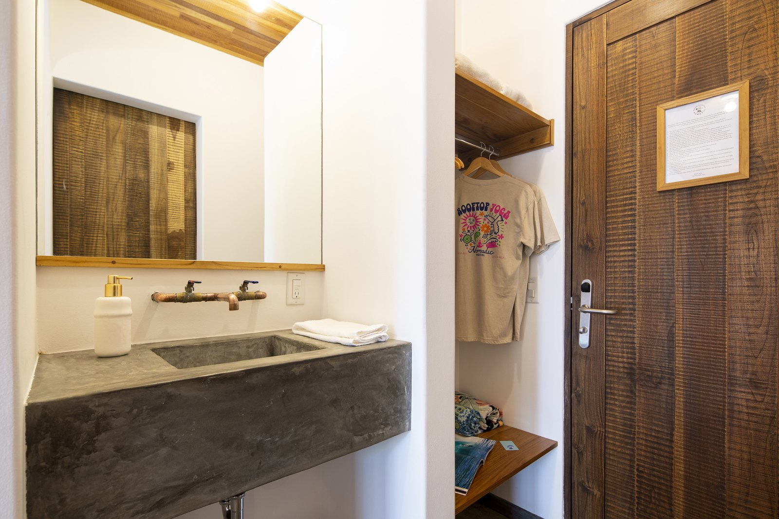 Bath Room, Mosaic Tile Wall, Concrete Counter, Concrete Floor, Pendant Lighting, Concrete Wall, Open Shower, Two Piece Toilet, and Vessel Sink Bathroom  Nomadic Nosara