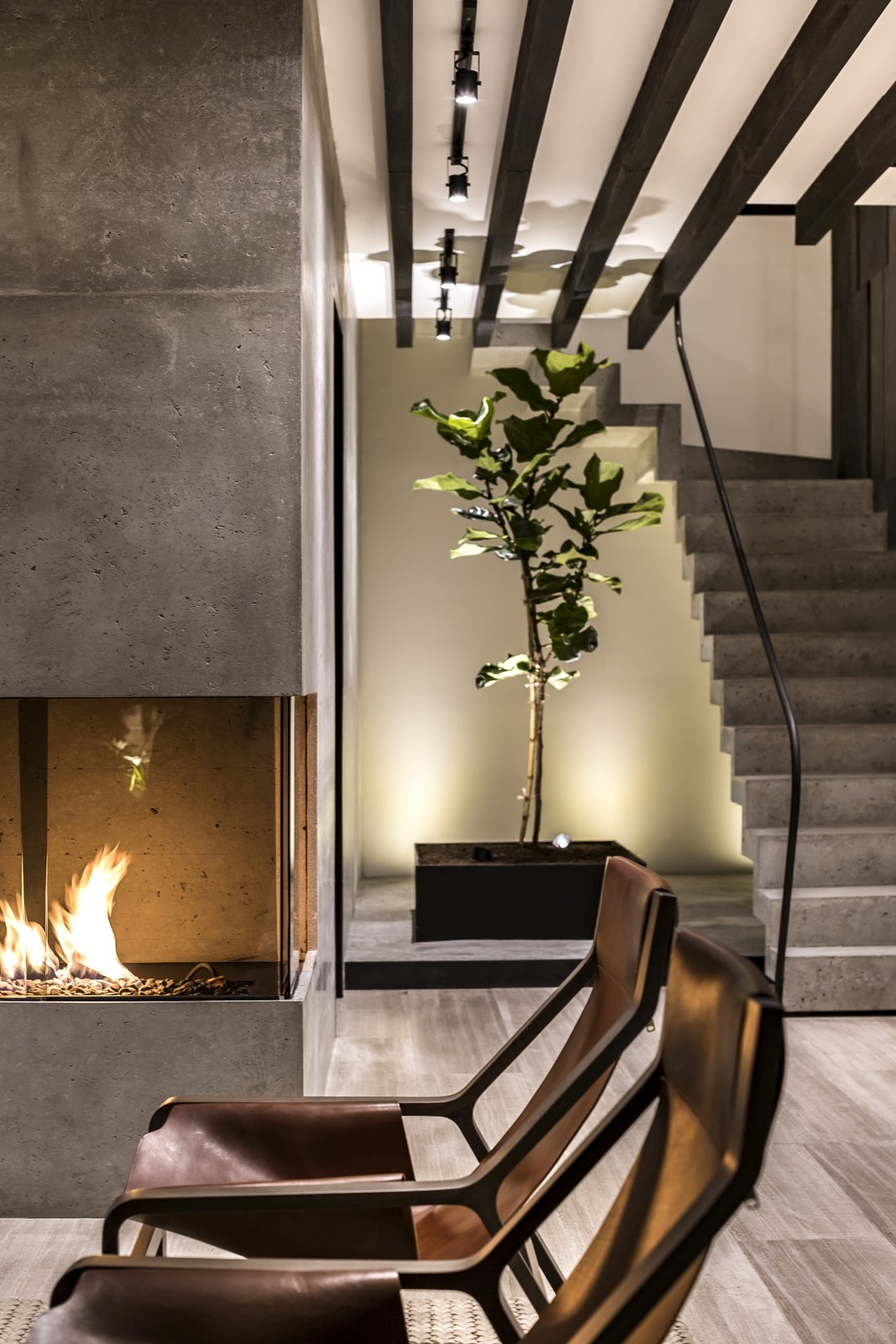 The fireplace creates an interesting game of lights and shadows
