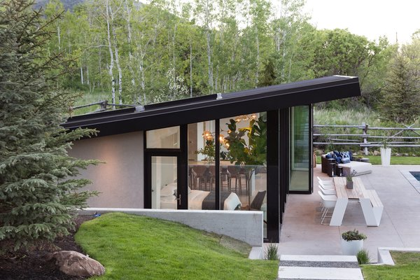The roof has a large tongue-and-groove wood overhang that shades the pool deck and outdoor dining area.