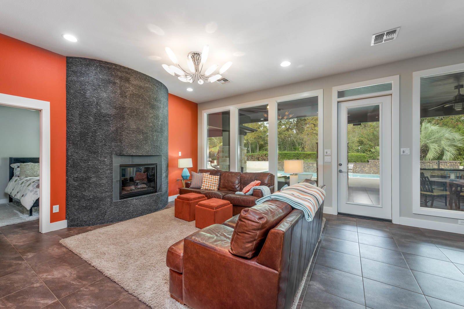 Living Room, Porcelain Tile Floor, and Ceiling Lighting Living  The Carlson House