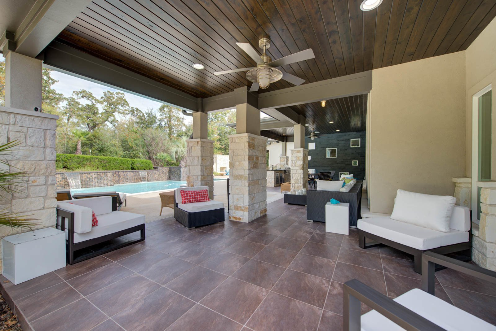 Outdoor, Tile Patio, Porch, Deck, and Large Patio, Porch, Deck Outdoor Living  The Carlson House