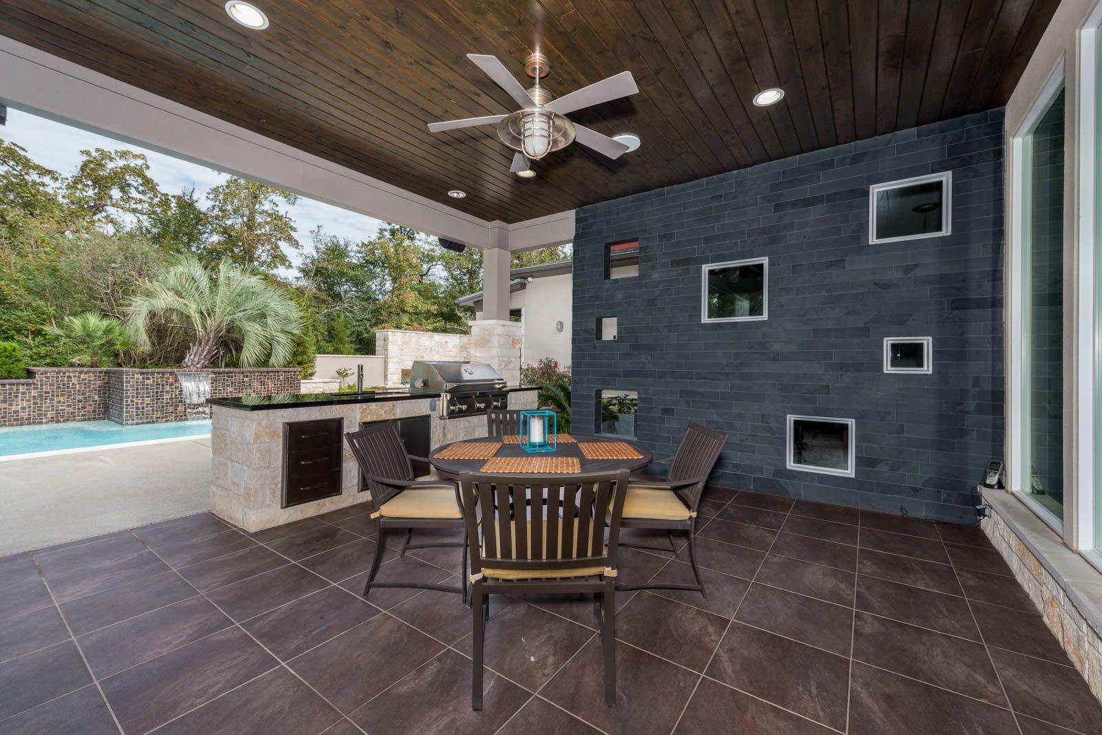 Outdoor, Large Patio, Porch, Deck, Tile Patio, Porch, Deck, and Stone Patio, Porch, Deck Outdoor Living  The Carlson House