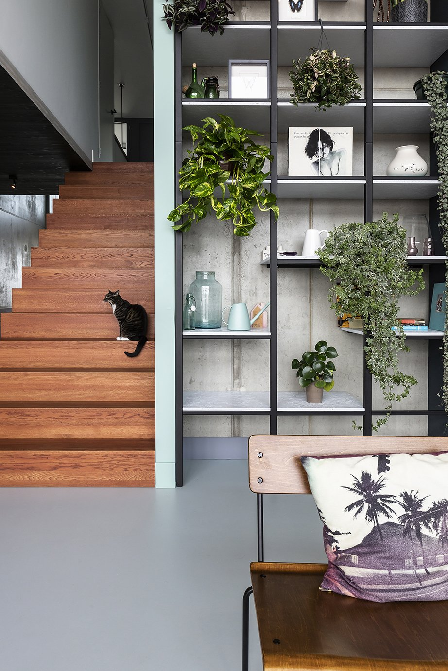 Living Room, Bench, and Concrete Floor Wall Cabinet  Best Photos from Super Loft by studiomfd Amsterdam