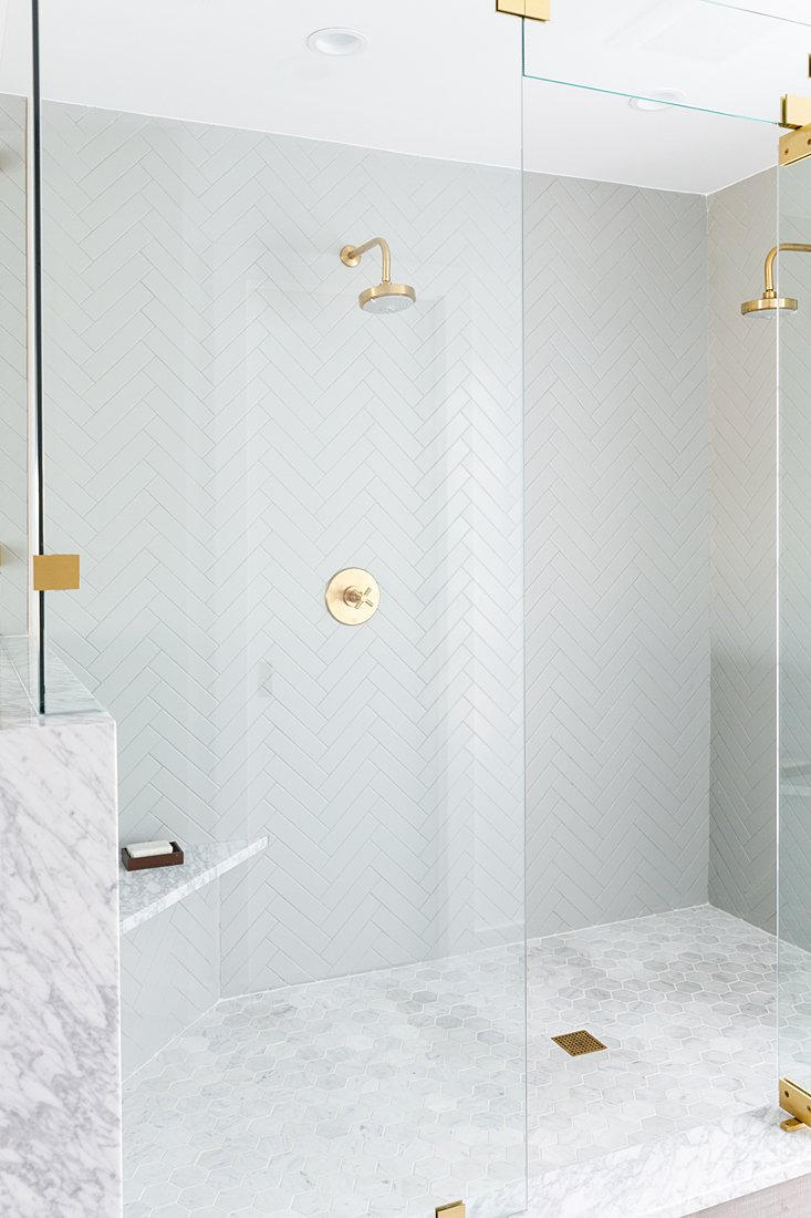Bath, Pendant, Marble, Marble, Recessed, Undermount, Ceiling, Full, Porcelain Tile, and One Piece New master shower with marble and Kohler fixtures  Best Bath Undermount One Piece Ceiling Recessed Photos from Swedish Style