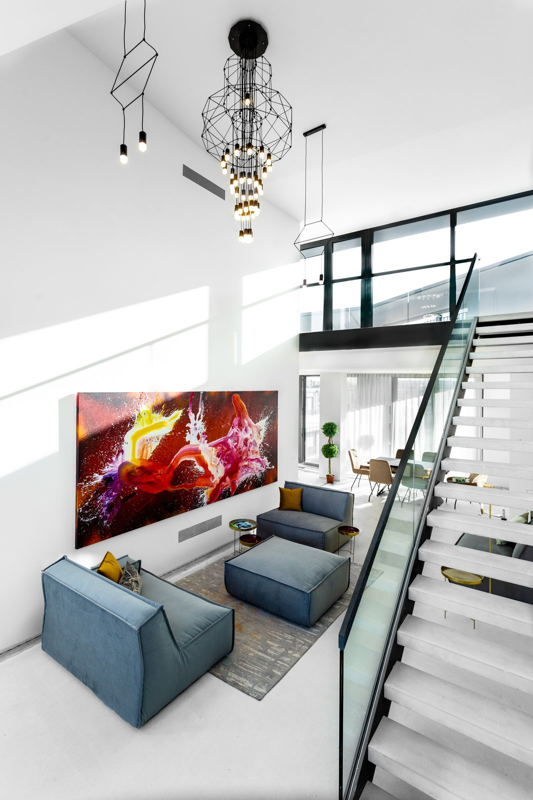 Living Room, Ceiling Lighting, and Sofa SAPPHIRE Super Penthouse, VON ALBERT REAL ESTATE  SAPPHIRE Super Penthouse