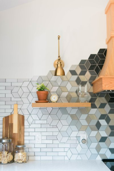 Floating Shelves + Statement Backsplash