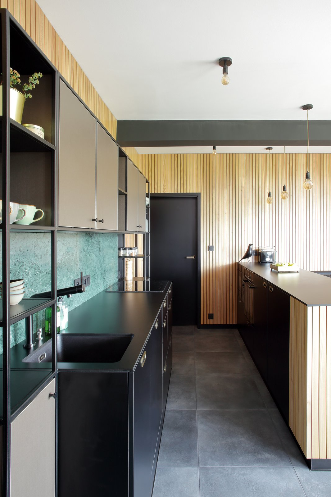 Kitchen, Laminate, Ceramic Tile, Pendant, Wood, Marble, and Laminate custom made kitchen  Best Kitchen Laminate Laminate Photos from Mountain Apartment in Ore Mountain, Czech Republic