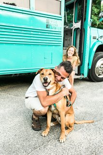Our family. Ben (the driver, builder & designer), Meag (me! I write and do all things social, design & online) and our rescue dog Moose (avid hiker and lover of peanut butter).