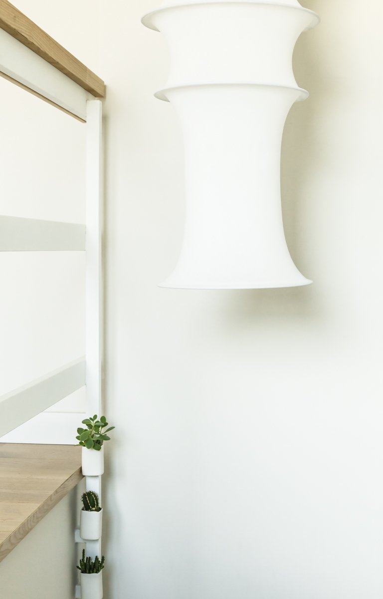 Staircase, Concrete, and Wood Bruno Munari textile light Falkland for the stairs  Staircase Wood Concrete Photos from remodelled duplex in a contemporary style