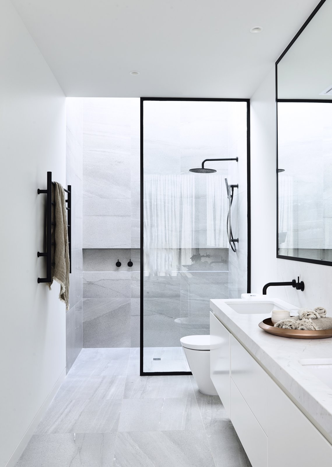 Bath, Marble, Porcelain Tile, Open, Porcelain Tile, Ceiling, Drop In, One Piece, and Freestanding Canny 'The New' Ensuite  Best Bath Porcelain Tile Drop In Freestanding Photos from The New