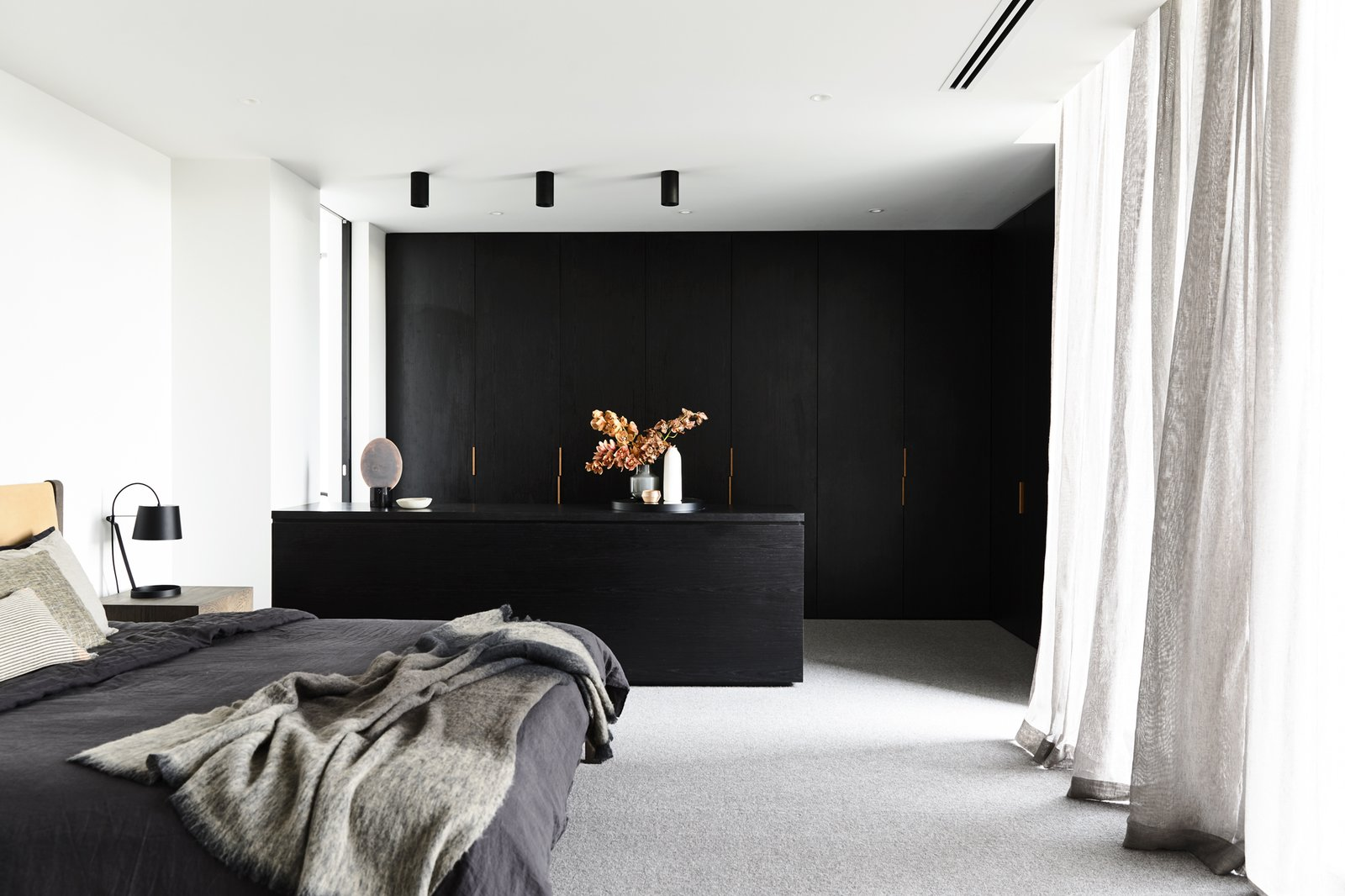 Bedroom, Wardrobe, Accent Lighting, Ceiling Lighting, Carpet Floor, and Bed Canny 'The New' Master Bedroom Robes  The New