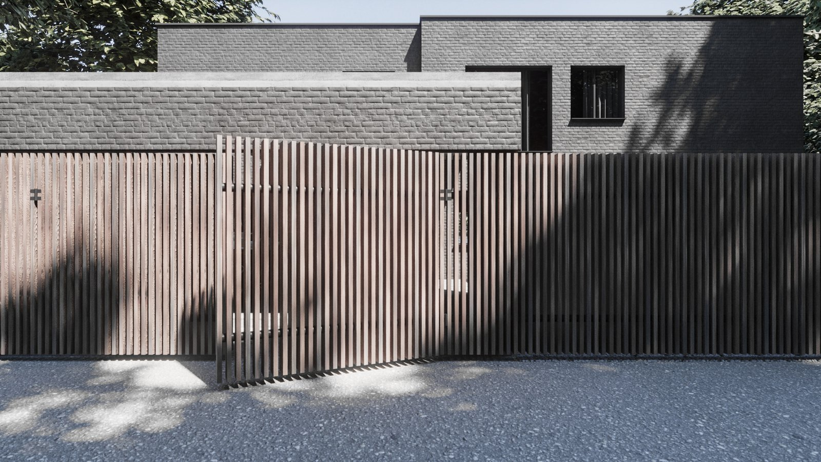 Exterior, Tiny Home Building Type, Flat RoofLine, Shingles Roof Material, House Building Type, Metal Roof Material, Brick Siding Material, and Wood Siding Material Massive wooden fence, which is a stripe, is on the background of a brick house, which is a square.  Best Photos from The Grey House