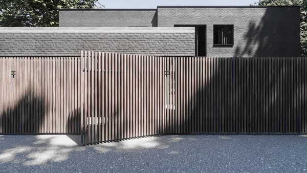 Massive wooden fence, which is a stripe, is on the background of a brick house, which is a square.