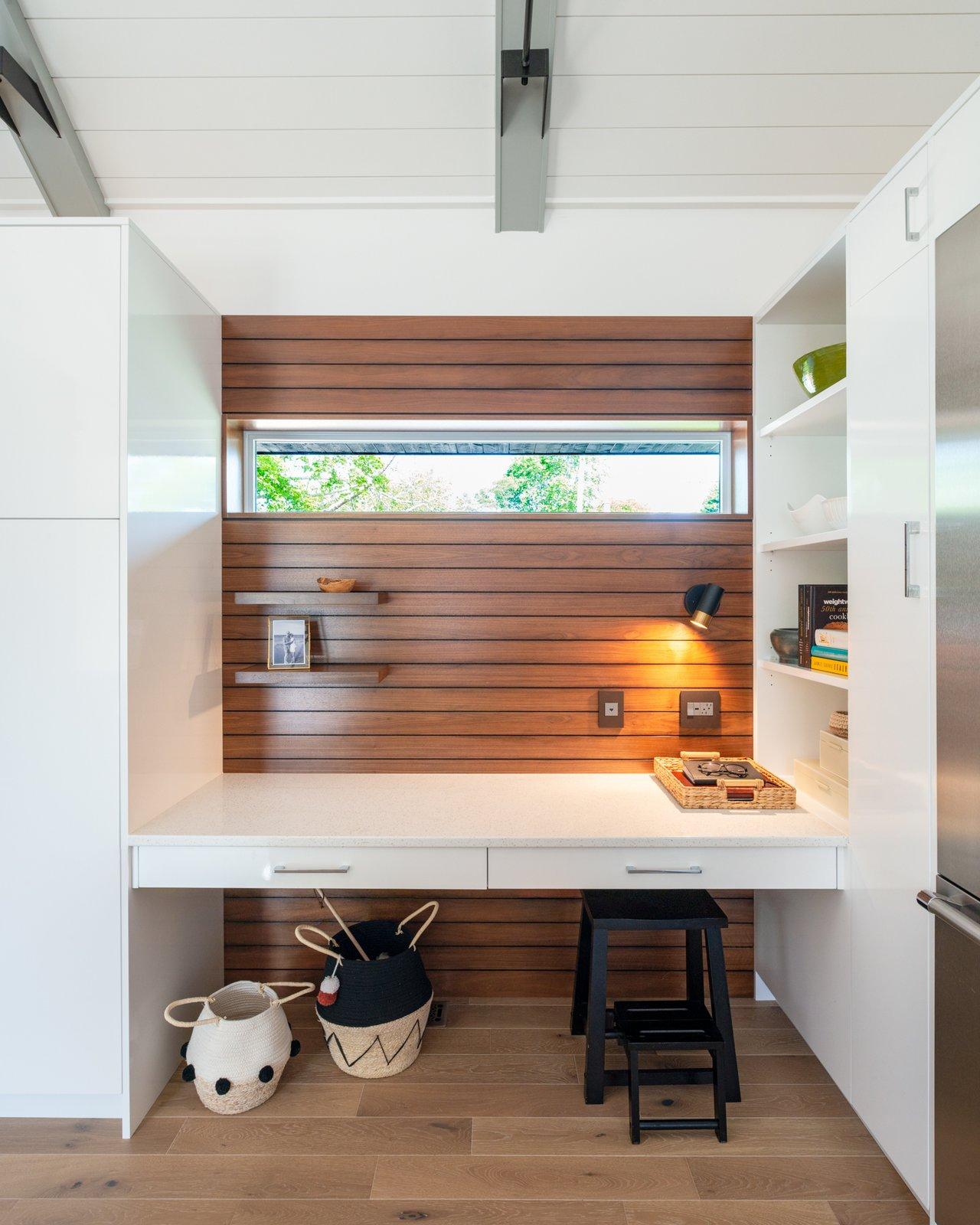 Office, Lamps, Desk, Storage, Shelves, and Medium Hardwood Floor Crichton Park -  Office Nook  CRICHTON PARK RENO by RHAD Architects