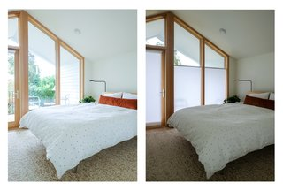 The wall of windows and private deck extend this bedroom beyond the walls and has the best sunset views in the house.