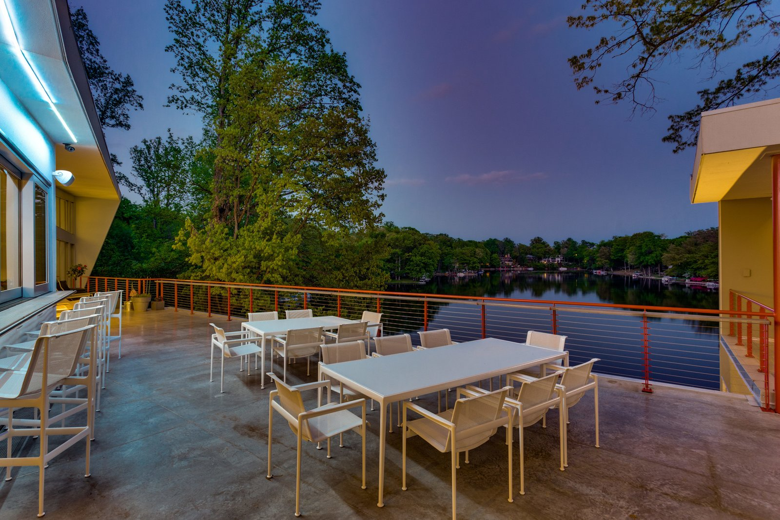Outdoor, Horizontal Fences, Wall, Back Yard, Trees, Landscape Lighting, Concrete Pools, Tubs, Shower, and Concrete Patio, Porch, Deck View from terrace to Lake Barcroft  Jafari Residence