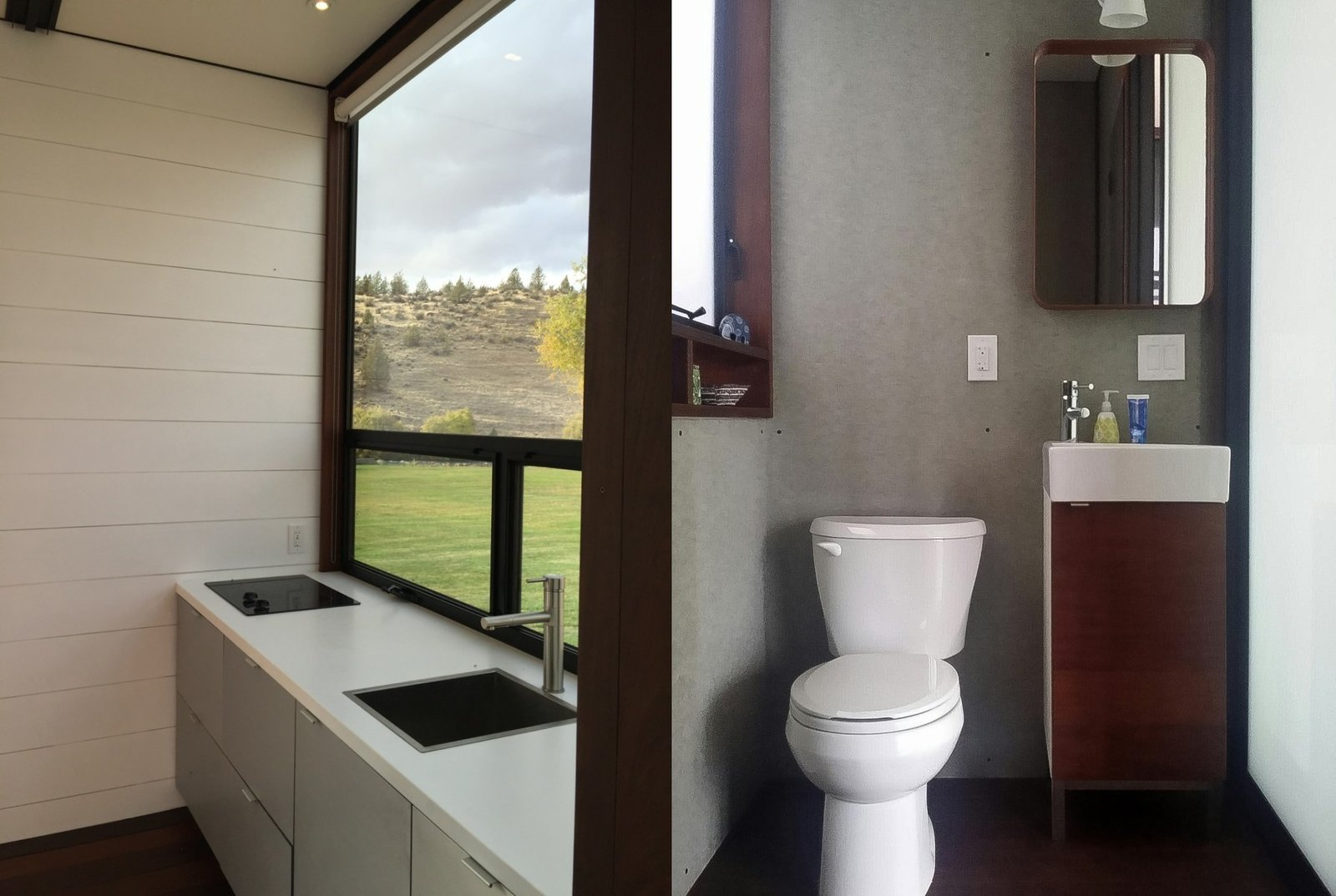 KitHaus modular homes offer modern touches, like sleek, angular designs and vanities made of timber.