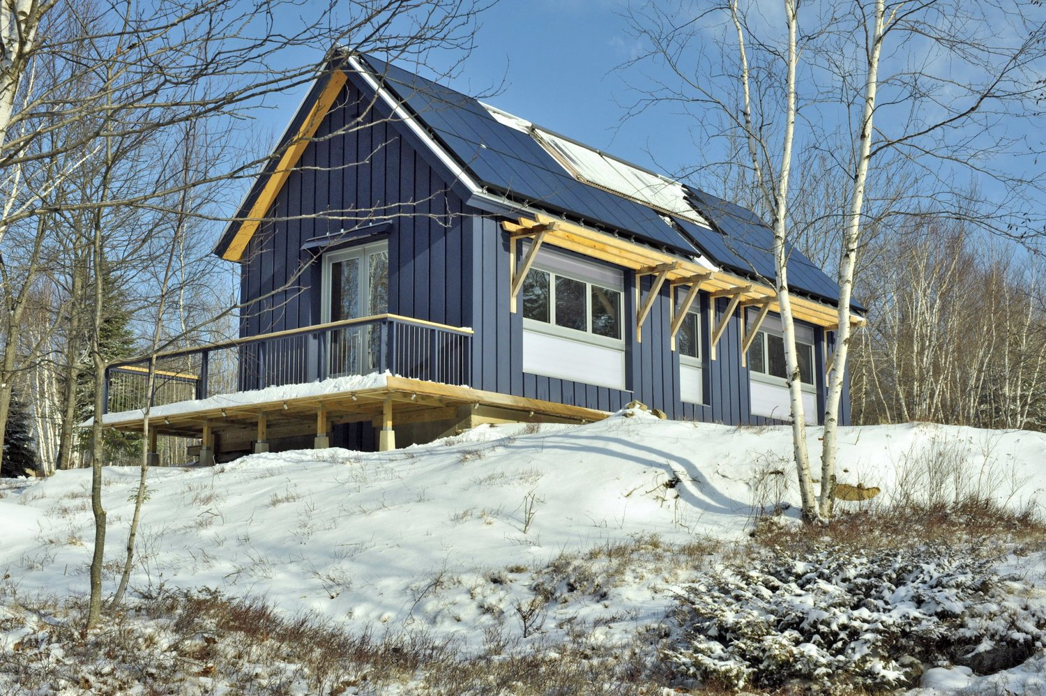 Exterior, Cabin Building Type, Prefab Building Type, Gable RoofLine, and Wood Siding Material Brightbuilt Homes has been constructing beautiful modular homes in Maine since 2005. Modular home prices in Maine reflect the somewhat more expensive Northeast market: this tiny but tasteful, fully customized, net-zero energy barn runs about $280 per square foot.