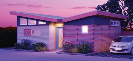 """Based out of Canada, Jenesys Buildings offers three different designs of """"Laneway"""" houses. The Wings model is an attractive, contemporary design, with an angled roof, modern finishes, and cladding. It's a great option to consider if you're looking for modular homes under $75K."""