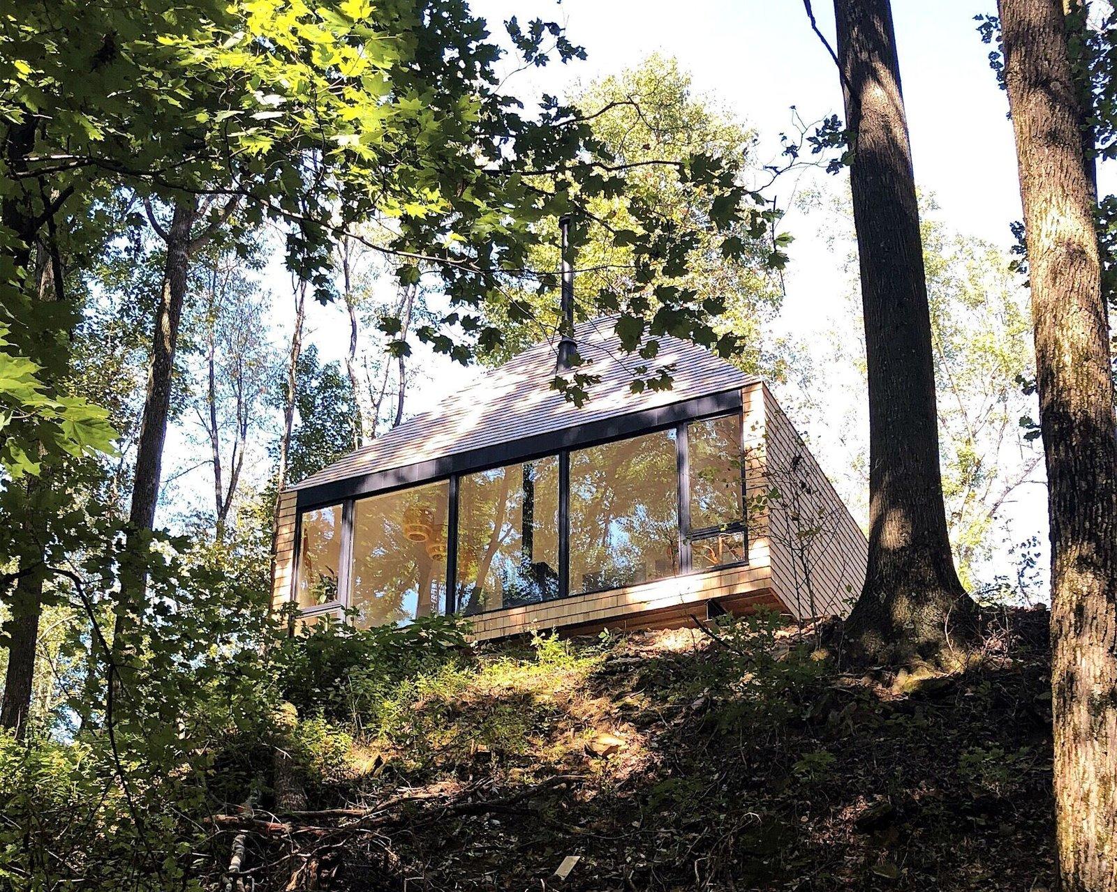 The Hut cedar shingle cabin exterior