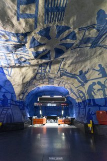 Stockholm's metro is a work of art in and of itself! The transit system comprises 100 stations—and over 90 of them are decorated with elaborate murals, sculptures, and tilework.