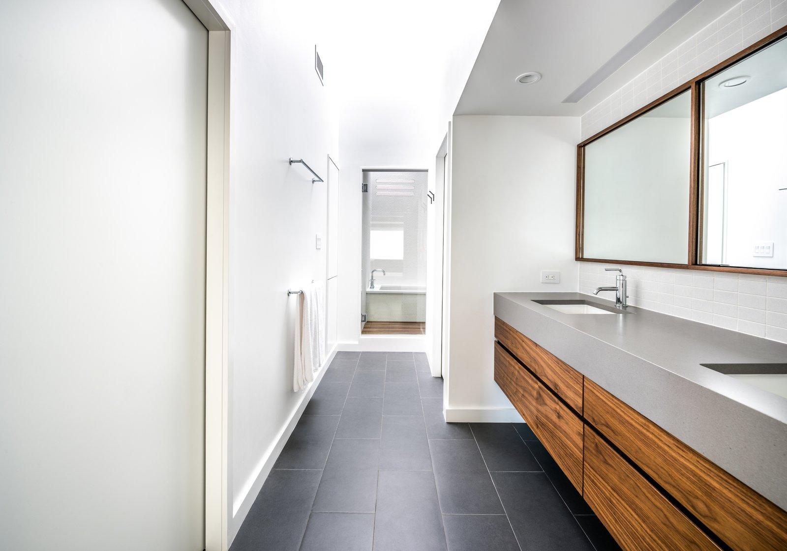Bath, Recessed, Ceramic Tile, Undermount, Ceiling, Undermount, Enclosed, Ceramic Tile, and Engineered Quartz Master Bathroom - After  Best Bath Undermount Enclosed Ceramic Tile Photos from Throckmorton Renovation