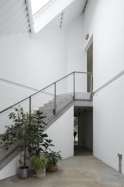The pared-back, triple-height hallway, lit from above, acts an internal courtyard.