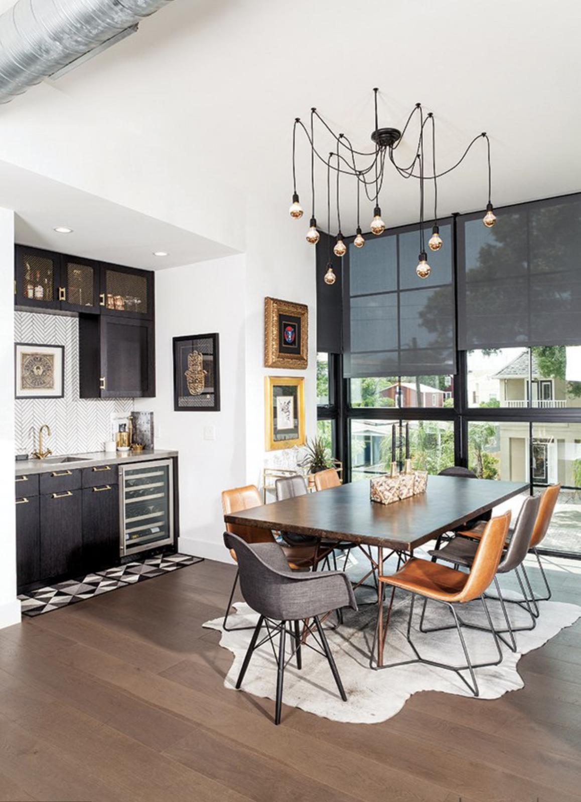 Dining Room, Dark Hardwood Floor, Bar, Table, Ceiling Lighting, Chair, Storage, and Recessed Lighting Dining/Wet Bar Detail  400 SOLA