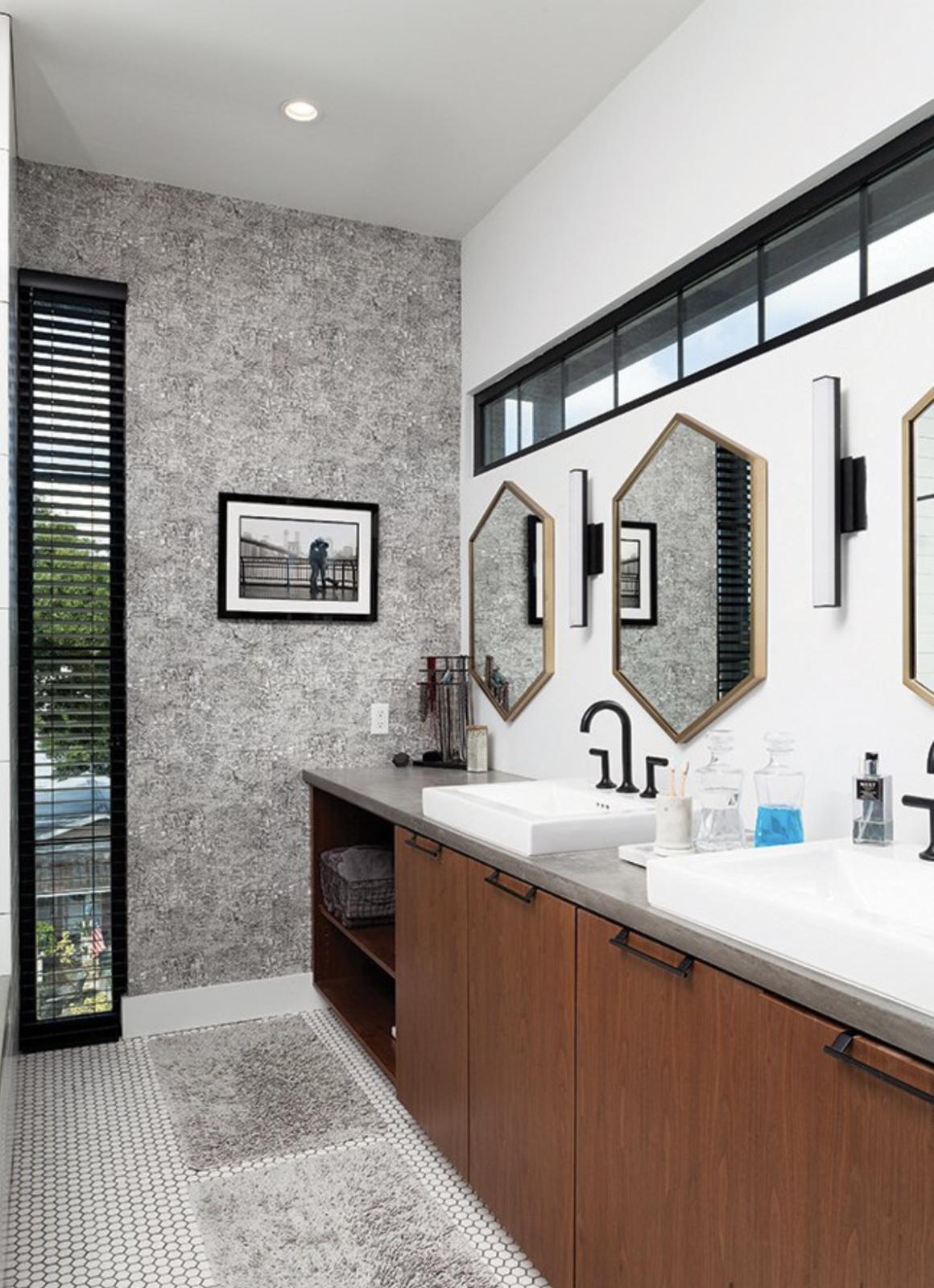 Bath Room, Ceiling Lighting, Marble Floor, Wall Lighting, Full Shower, Subway Tile Wall, Enclosed Shower, Vessel Sink, Concrete Counter, Corner Shower, and Ceramic Tile Wall Master Bath Detail 01  400 SOLA