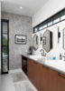 Modern home with Bath Room, Ceiling Lighting, Marble Floor, Wall Lighting, Full Shower, Subway Tile Wall, Enclosed Shower, Vessel Sink, Concrete Counter, Corner Shower, and Ceramic Tile Wall. Master Bath Detail 01 Photo 9 of 400 SOLA
