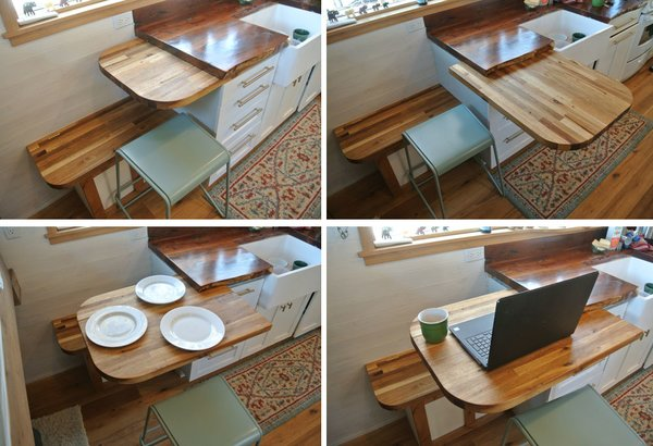 The Parhams added a convertible table that slides out to extend the kitchen and can be used for added prep space, dining, or as an office nook.