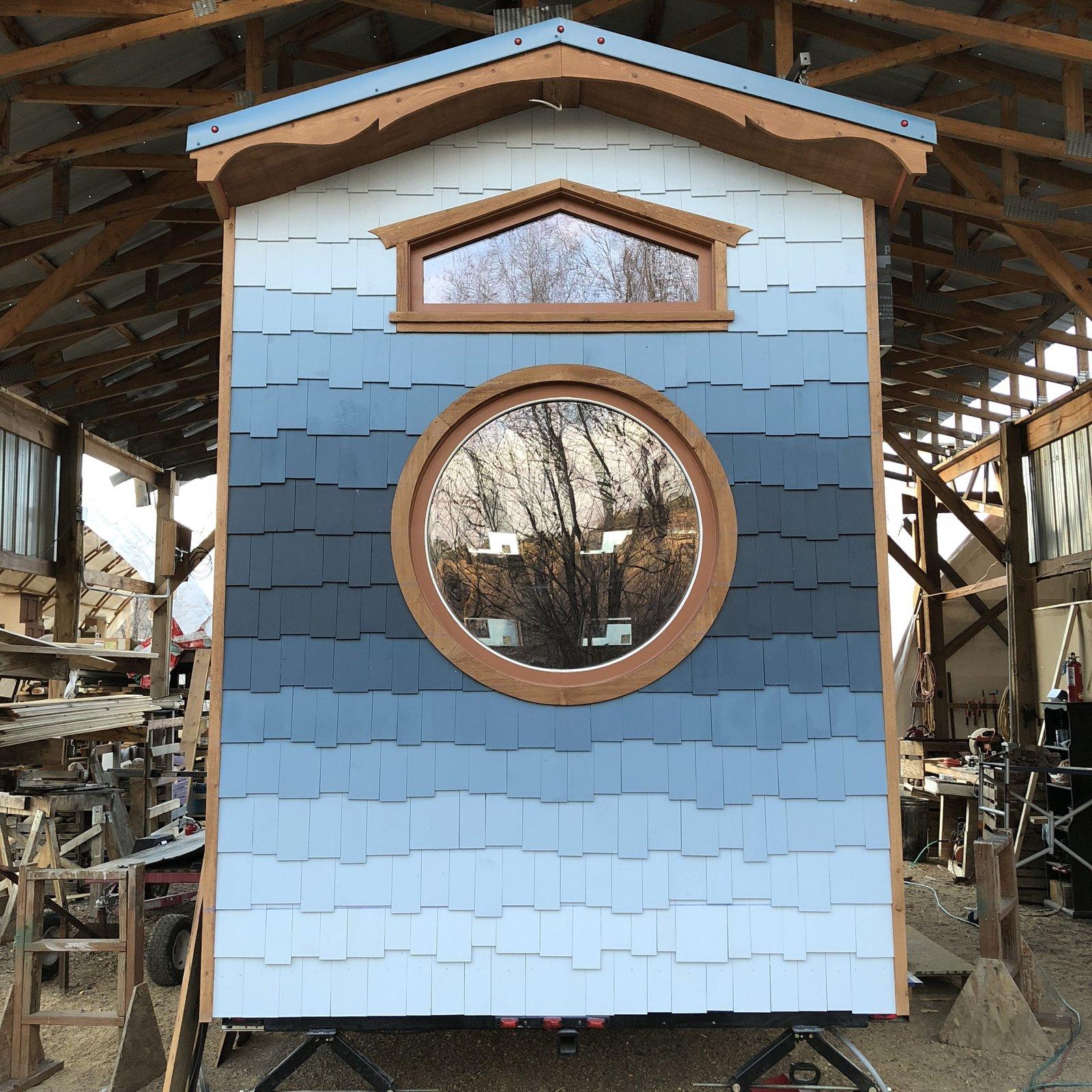 San Juan Tiny House blue shingle siding