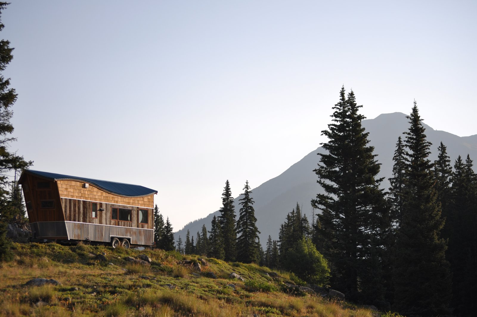 Exterior, Metal, Wood, Metal, Curved, Gable, Tiny Home, and Camper EXTERIOR DRIVER SIDE  Best Exterior Wood Gable Metal Photos from The San Juan Tiny House