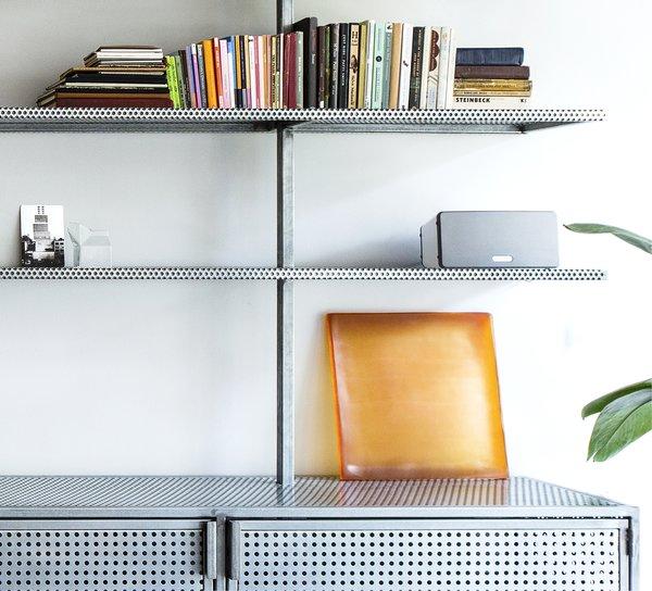 Detail of the custom book shelves