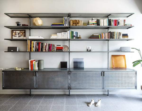 Custom book shelves out of perforated steel