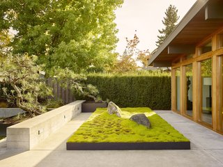 Inspired by Japanese gardens, the outdoor spaces are serene and comforting.