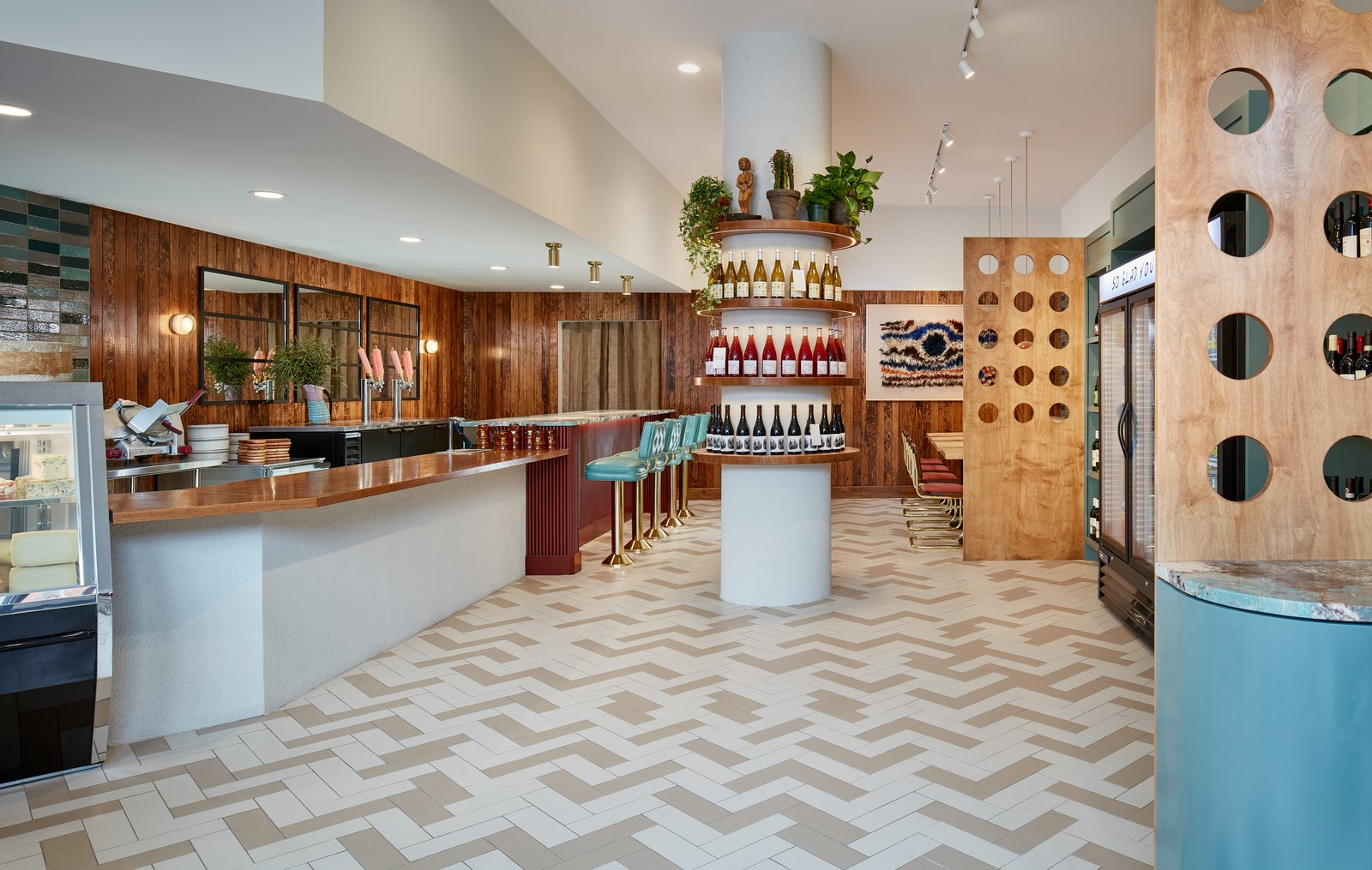 Dining, Recessed, Track, Stools, Chair, Shelves, Ceramic Tile, Table, and Bar A mix of wood and tile lends Brothers and Sisters a rich texture.  Best Dining Shelves Table Bar Recessed Stools Photos from A New Chicago Cafe and Bottle Shop Flaunts Funky '70s Vibes