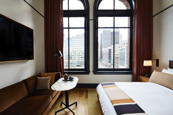 Oversized windows forge a connection with downtown Detroit.