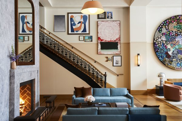 """Awash in blue, the prominent """"living room"""" is not just a social hangout for Shinola Hotel guests, but the downtown Detroit community."""