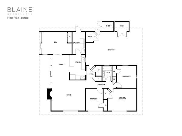 The Eichler home's original floor plan.
