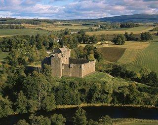Medieval-era Doune Castle lies northwest of Stirling, in central Scotland.