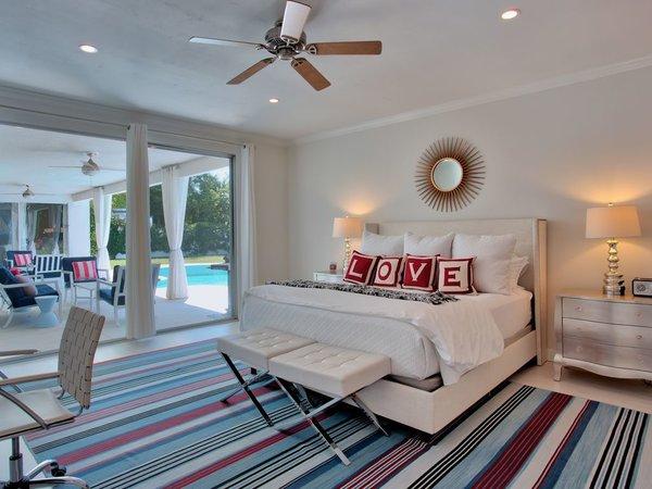 Outdoor views brighten the bedrooms.