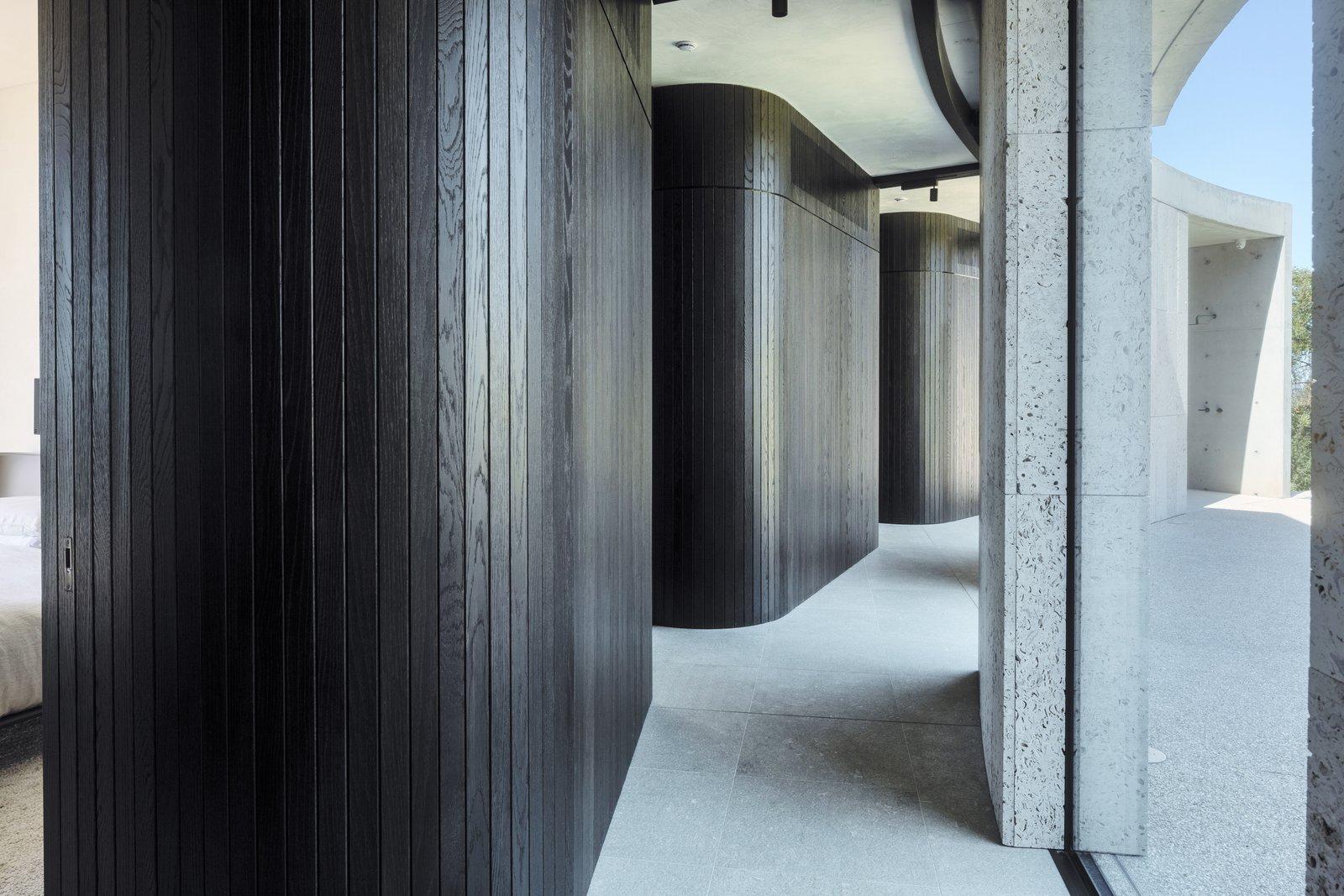 Tidal Arc House timber clad corridor