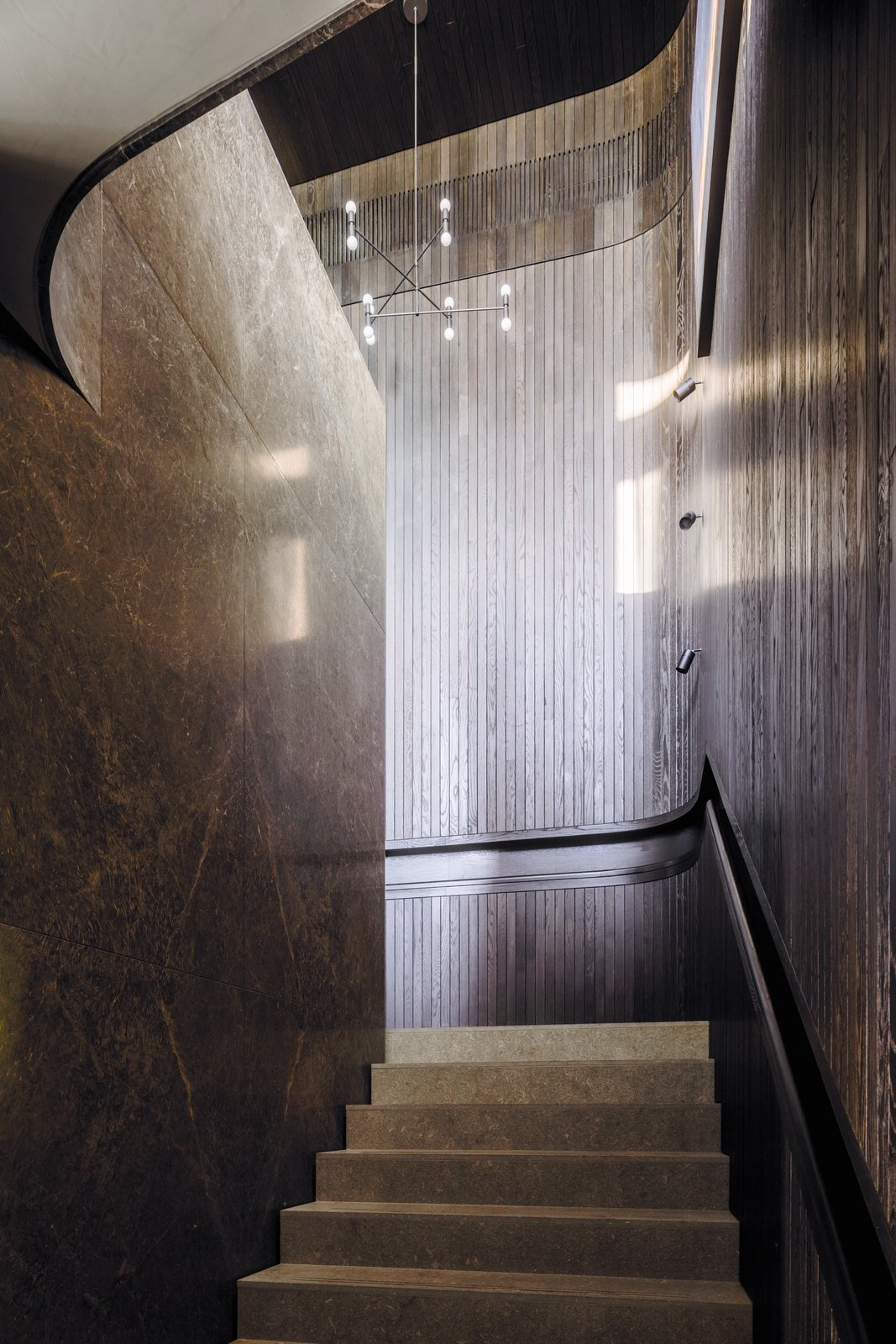 Tidal Arc House timber and stone staircase