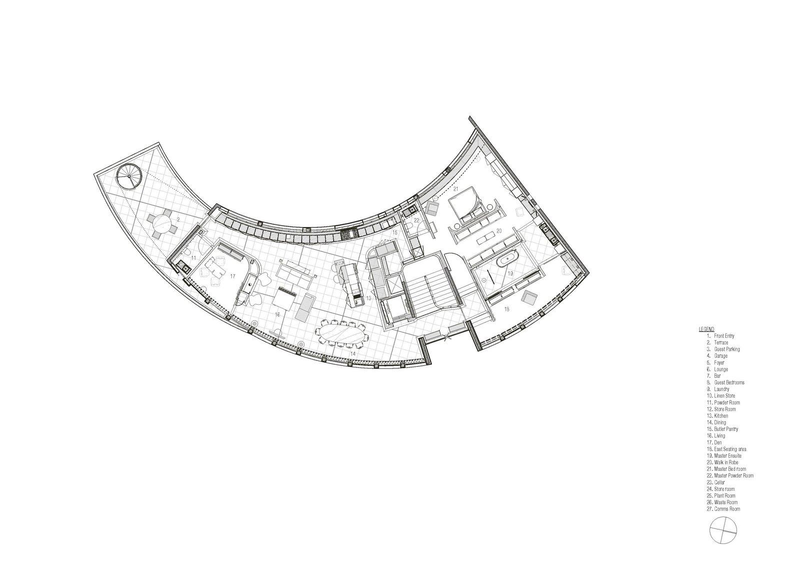 Tidal Arc House upper level floor plan