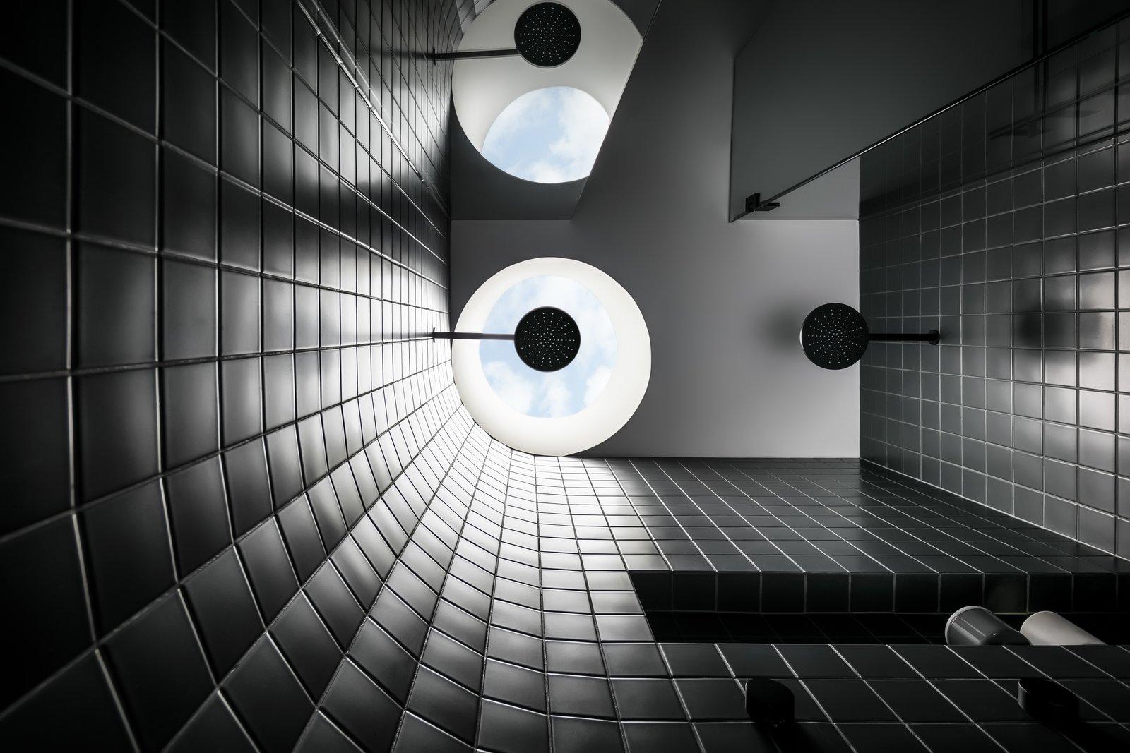 Triple Fronted Revival black tile shower