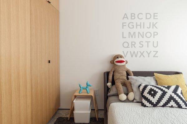 One of the children's rooms, equal parts clean-lined and playful.